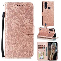 Intricate Embossing Lace Jasmine Flower Leather Wallet Case for Motorola Moto G8 Power Lite - Rose Gold