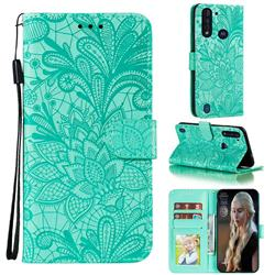Intricate Embossing Lace Jasmine Flower Leather Wallet Case for Motorola Moto G8 Power Lite - Green