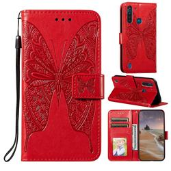 Intricate Embossing Vivid Butterfly Leather Wallet Case for Motorola Moto G8 Power Lite - Red