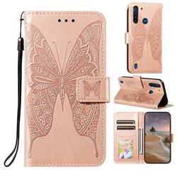 Intricate Embossing Vivid Butterfly Leather Wallet Case for Motorola Moto G8 Power Lite - Rose Gold