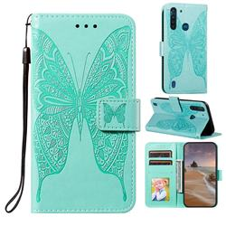 Intricate Embossing Vivid Butterfly Leather Wallet Case for Motorola Moto G8 Power Lite - Green