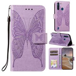 Intricate Embossing Vivid Butterfly Leather Wallet Case for Motorola Moto G8 Power Lite - Purple