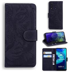 Intricate Embossing Tiger Face Leather Wallet Case for Motorola Moto G8 Power Lite - Black