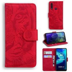 Intricate Embossing Tiger Face Leather Wallet Case for Motorola Moto G8 Power Lite - Red