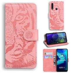 Intricate Embossing Tiger Face Leather Wallet Case for Motorola Moto G8 Power Lite - Pink