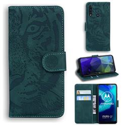 Intricate Embossing Tiger Face Leather Wallet Case for Motorola Moto G8 Power Lite - Green