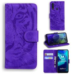 Intricate Embossing Tiger Face Leather Wallet Case for Motorola Moto G8 Power Lite - Purple