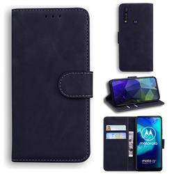 Retro Classic Skin Feel Leather Wallet Phone Case for Motorola Moto G8 Power Lite - Black