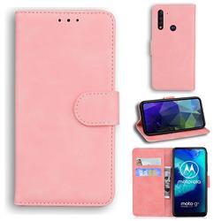 Retro Classic Skin Feel Leather Wallet Phone Case for Motorola Moto G8 Power Lite - Pink