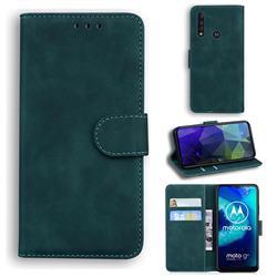 Retro Classic Skin Feel Leather Wallet Phone Case for Motorola Moto G8 Power Lite - Green