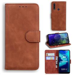 Retro Classic Skin Feel Leather Wallet Phone Case for Motorola Moto G8 Power Lite - Brown