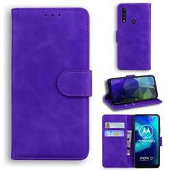 Retro Classic Skin Feel Leather Wallet Phone Case for Motorola Moto G8 Power Lite - Purple