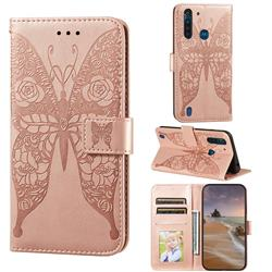 Intricate Embossing Rose Flower Butterfly Leather Wallet Case for Motorola Moto G8 Power Lite - Rose Gold