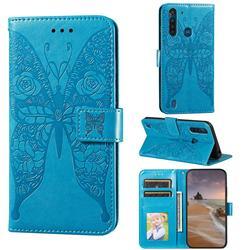 Intricate Embossing Rose Flower Butterfly Leather Wallet Case for Motorola Moto G8 Power Lite - Blue