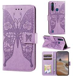 Intricate Embossing Rose Flower Butterfly Leather Wallet Case for Motorola Moto G8 Power Lite - Purple