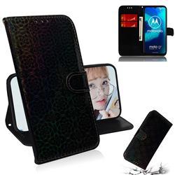 Laser Circle Shining Leather Wallet Phone Case for Motorola Moto G8 Power Lite - Black