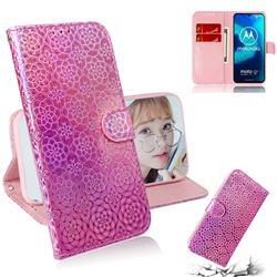 Laser Circle Shining Leather Wallet Phone Case for Motorola Moto G8 Power Lite - Pink