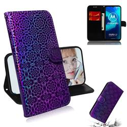 Laser Circle Shining Leather Wallet Phone Case for Motorola Moto G8 Power Lite - Purple