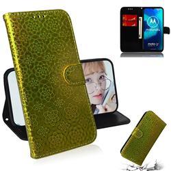 Laser Circle Shining Leather Wallet Phone Case for Motorola Moto G8 Power Lite - Golden