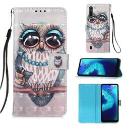 Sweet Gray Owl 3D Painted Leather Wallet Case for Motorola Moto G8 Power Lite