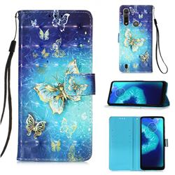 Gold Butterfly 3D Painted Leather Wallet Case for Motorola Moto G8 Power Lite
