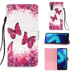 Rose Butterfly 3D Painted Leather Wallet Case for Motorola Moto G8 Power Lite