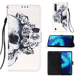 Skull Flower 3D Painted Leather Wallet Case for Motorola Moto G8 Power Lite