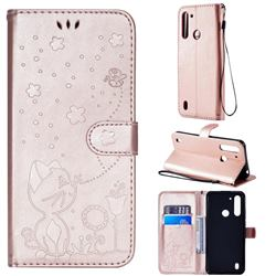 Embossing Bee and Cat Leather Wallet Case for Motorola Moto G8 Power Lite - Rose Gold