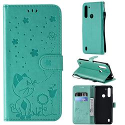 Embossing Bee and Cat Leather Wallet Case for Motorola Moto G8 Power Lite - Green