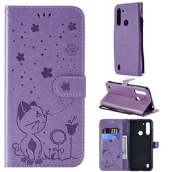 Embossing Bee and Cat Leather Wallet Case for Motorola Moto G8 Power Lite - Purple