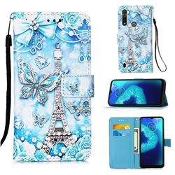 Tower Butterfly Matte Leather Wallet Phone Case for Motorola Moto G8 Power Lite