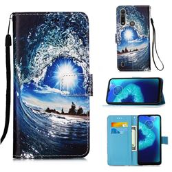 Waves and Sun Matte Leather Wallet Phone Case for Motorola Moto G8 Power Lite