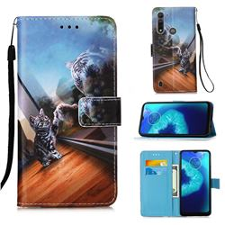 Mirror Cat Matte Leather Wallet Phone Case for Motorola Moto G8 Power Lite