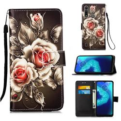 Black Rose Matte Leather Wallet Phone Case for Motorola Moto G8 Power Lite