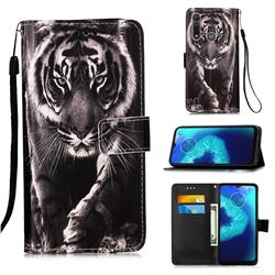 Black and White Tiger Matte Leather Wallet Phone Case for Motorola Moto G8 Power Lite