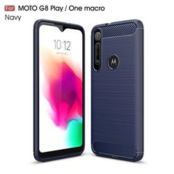 Luxury Carbon Fiber Brushed Wire Drawing Silicone TPU Back Cover for Motorola Moto G8 Play - Navy