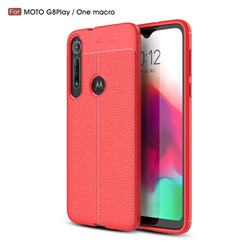 Luxury Auto Focus Litchi Texture Silicone TPU Back Cover for Motorola Moto G8 Play - Red