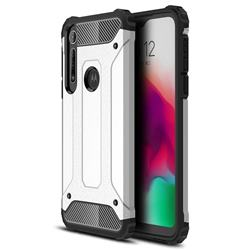 King Kong Armor Premium Shockproof Dual Layer Rugged Hard Cover for Motorola Moto G8 Play - White