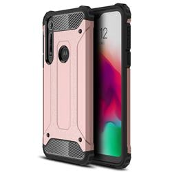 King Kong Armor Premium Shockproof Dual Layer Rugged Hard Cover for Motorola Moto G8 Play - Rose Gold