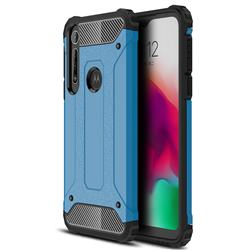 King Kong Armor Premium Shockproof Dual Layer Rugged Hard Cover for Motorola Moto G8 Play - Sky Blue
