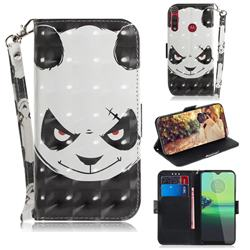 Angry Bear 3D Painted Leather Wallet Phone Case for Motorola Moto G8 Play