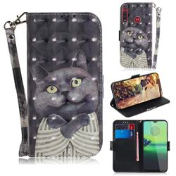 Cat Embrace 3D Painted Leather Wallet Phone Case for Motorola Moto G8 Play