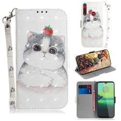 Cute Tomato Cat 3D Painted Leather Wallet Phone Case for Motorola Moto G8 Play