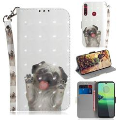 Pug Dog 3D Painted Leather Wallet Phone Case for Motorola Moto G8 Play