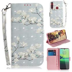 Magnolia Flower 3D Painted Leather Wallet Phone Case for Motorola Moto G8 Play