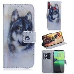Snow Wolf PU Leather Wallet Case for Motorola Moto G8 Play