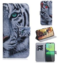 White Tiger PU Leather Wallet Case for Motorola Moto G8 Play