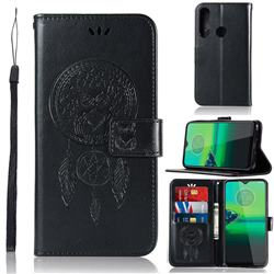 Intricate Embossing Owl Campanula Leather Wallet Case for Motorola Moto G8 Play - Black