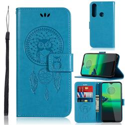 Intricate Embossing Owl Campanula Leather Wallet Case for Motorola Moto G8 Play - Blue