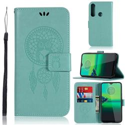 Intricate Embossing Owl Campanula Leather Wallet Case for Motorola Moto G8 Play - Green